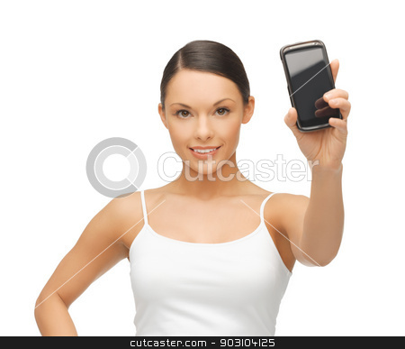 woman showing smartphone stock photo, beautiful sporty woman showing smartphone with app by Syda Productions