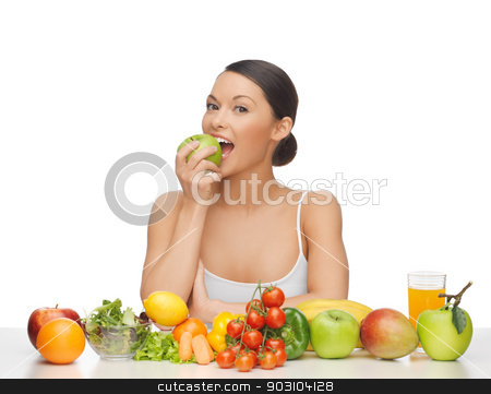 woman with fruits and vegetables stock photo, woman eating apple with lot of fruits and vegetables by Syda Productions