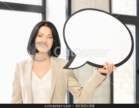 smiling businesswoman with blank text bubble stock photo, picture of smiling businesswoman with blank text bubble by Syda Productions