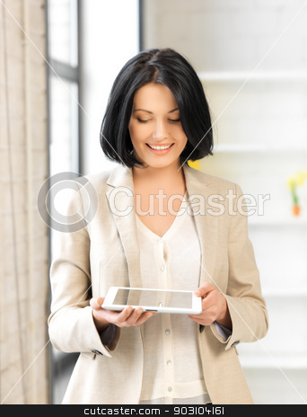 woman with tablet pc stock photo, picture of happy woman with tablet pc by Syda Productions