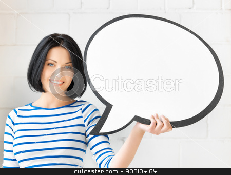 smiling student with blank text bubble stock photo, picture of smiling student with blank text bubble by Syda Productions