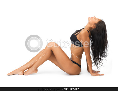 seductive woman in sexy lingerie leaning back stock photo, picture of seductive woman in sexy lingerie leaning back by Syda Productions