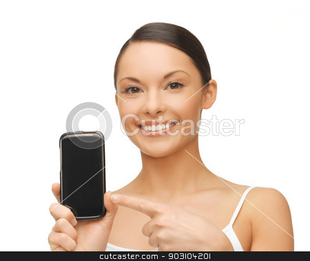 woman pointing at smartphone with sport app stock photo, beautiful woman pointing at smartphone with sport app by Syda Productions
