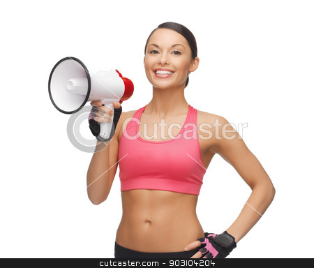 woman with megaphone stock photo, picture of beautiful sporty woman with megaphone by Syda Productions