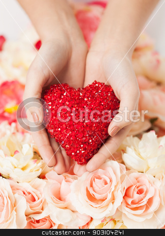 woman's hands holding heart stock photo, close up of woman's hands holding heart by Syda Productions