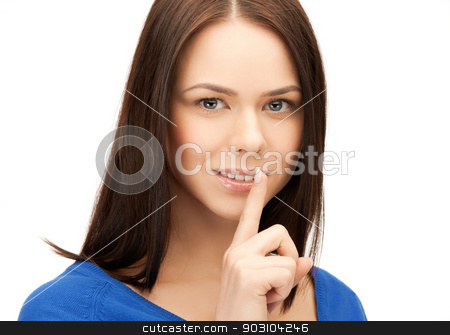 woman with finger on her lips stock photo, picture of mysterious woman with finger on her lips by Syda Productions