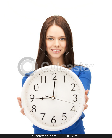 businesswoman with wall clock stock photo, picture of attractive businesswoman with wall clock by Syda Productions