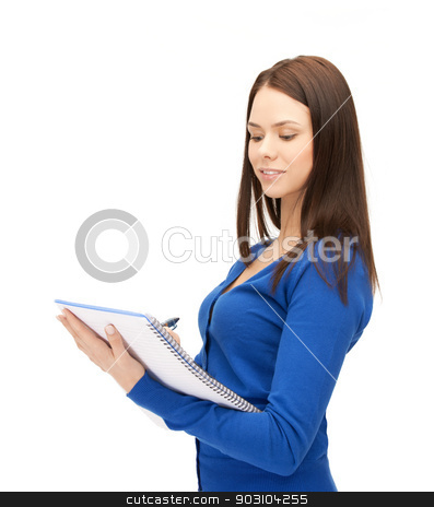 smiling young businesswoman with notebook stock photo, picture of smiling young businesswoman taking notes by Syda Productions