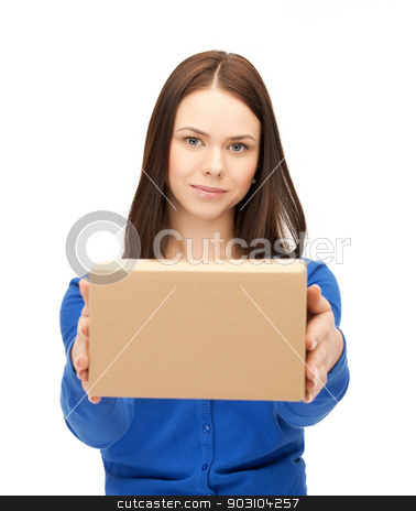 businesswoman delivering box stock photo, picture of attractive businesswoman delivering box.. by Syda Productions