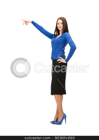 businesswoman pointing her finger stock photo, picture of attractive businesswoman pointing her finger by Syda Productions