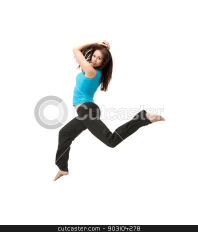 sporty woman jumping in sportswear stock photo, picture of beautiful sporty woman jumping in sportswear by Syda Productions