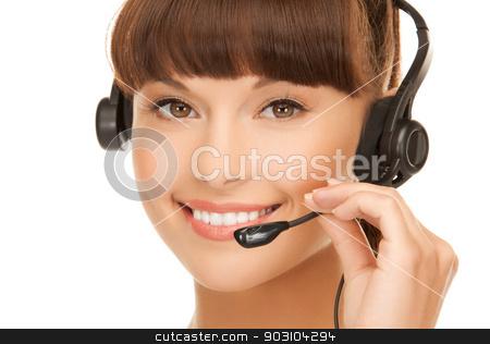 friendly female helpline operator stock photo, picture of friendly female helpline operator with headphones by Syda Productions