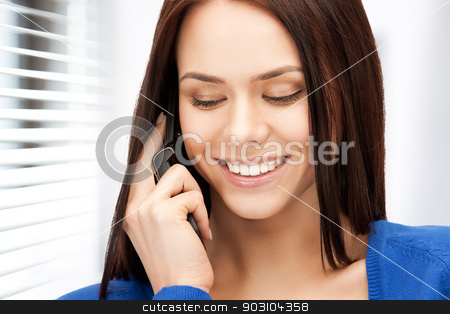 businesswoman with cell phone stock photo, bright picture of businesswoman with cell phone by Syda Productions