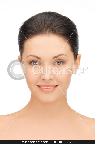 face of beautiful young brunette woman stock photo, clean face of beautiful young brunette woman by Syda Productions