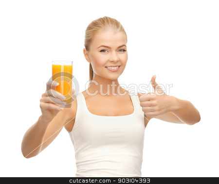 woman holding glass of orange juice stock photo, woman holding glass of orange juice and showing thumbs up by Syda Productions