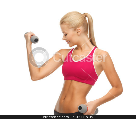young sporty woman with light dumbbells stock photo, picture of young sporty woman with light dumbbells by Syda Productions