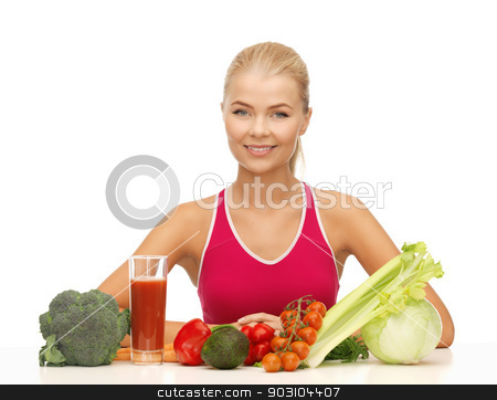 woman with organic food stock photo, picture of young woman with organic food by Syda Productions