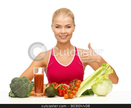 woman with organic food stock photo, young woman with organic food showing thumbs up by Syda Productions