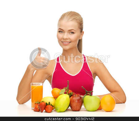 woman with juice and fruits showing thumbs up stock photo, young woman with organic food or fruits showing thumbs up by Syda Productions