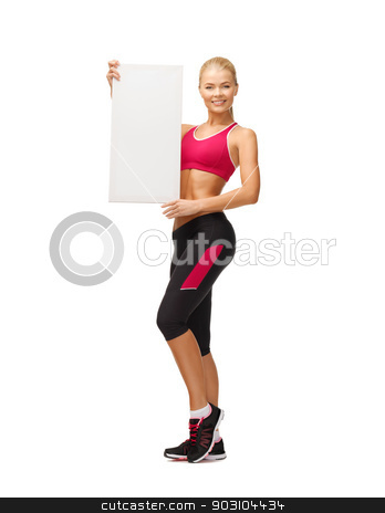 sportswoman with white blank board stock photo, happy smiling sportswoman with white blank board by Syda Productions
