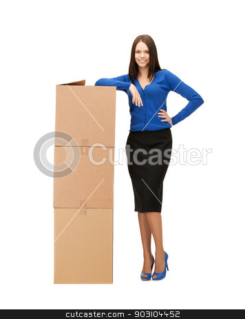 businesswoman with big carton boxes stock photo, picture of attractive businesswoman with big carton boxes.. by Syda Productions