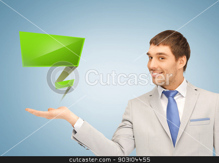 businessman with virtual blank text bubble stock photo, handsome businessman with virtual blank text bubble by Syda Productions