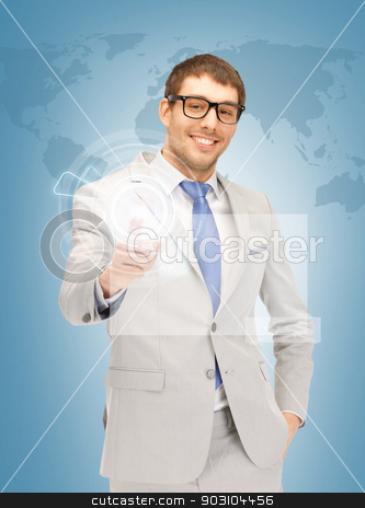 businessman pressing virtual button stock photo, picture of handsome man pressing virtual button by Syda Productions