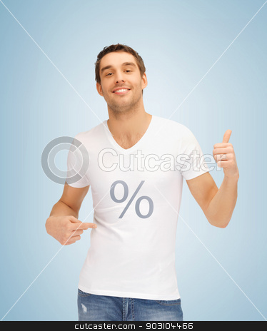 man with percent icon showing thumbs up stock photo, picture of man with percent icon showing thumbs up. by Syda Productions