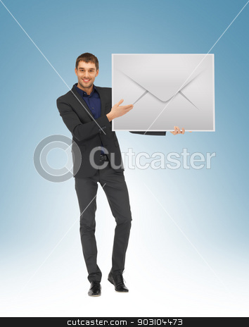 man showing virtual envelope stock photo, picture of handsome man showing virtual envelope by Syda Productions