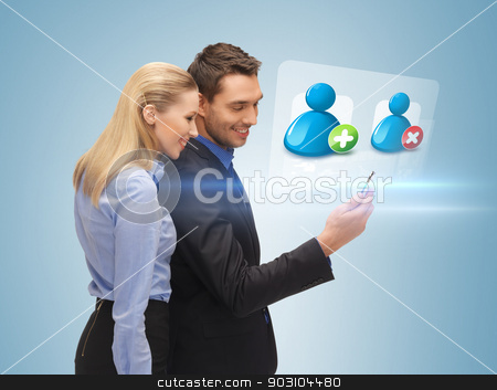 man and woman reading sms stock photo, bright picture of man and woman reading sms by Syda Productions
