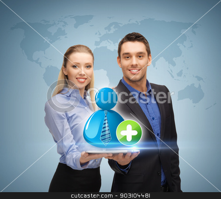 man and woman with with contact icon stock photo, businessman and businesswoman holding tablet pc with contact icon by Syda Productions