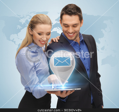 man and woman with virtual email sign stock photo, businesswoman and businessman showing tablet pc with virtual email sign by Syda Productions