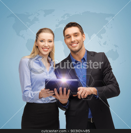 man and woman with tablet pc stock photo, bright picture of man and woman with tablet pc and world map by Syda Productions