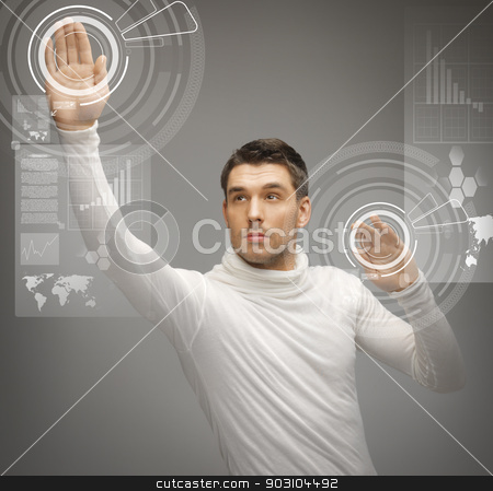 man working with virtual screens stock photo, picture of futuristic man working with virtual screens by Syda Productions