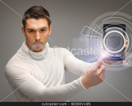 man with virtual tablet pc stock photo, man with tablet pc touching virtual screen by Syda Productions