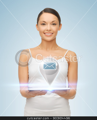 woman with tablet pc and sms icon stock photo, picture of beautiful woman with tablet pc and sms icon by Syda Productions