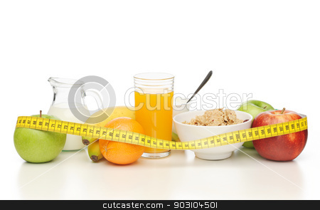 healthy breakfast and measuring tape stock photo, close up of healthy breakfast and measuring tape by Syda Productions