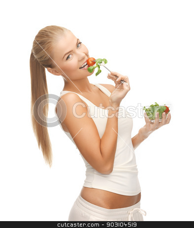 healthy woman holding bowl with salad stock photo, picture of healthy woman holding bowl with salad by Syda Productions