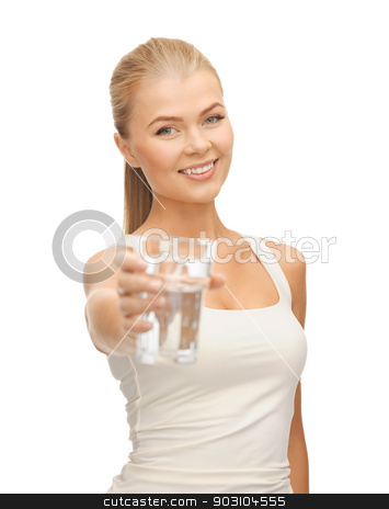 young smiling woman with glass of water stock photo, picture of young smiling woman with glass of water by Syda Productions