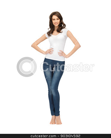 woman in blank white t-shirt stock photo, picture of happy woman in blank white t-shirt by Syda Productions