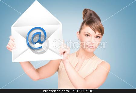 woman showing virtual envelope stock photo, picture of woman showing virtual envelope by Syda Productions