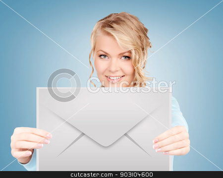 woman showing virtual envelope stock photo, picture of smiling woman showing virtual envelope by Syda Productions