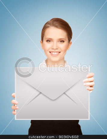 girl showing virtual envelope stock photo, picture of smiling girl showing virtual envelope by Syda Productions