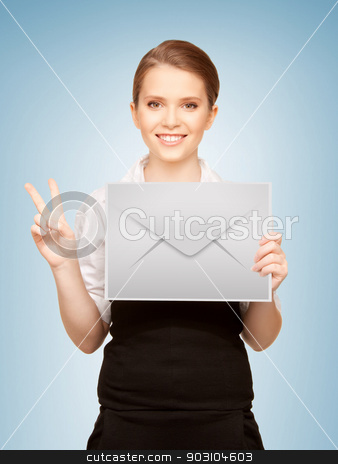 woman showing virtual envelope stock photo, picture of smiling girl showing virtual envelope and victory gesture by Syda Productions