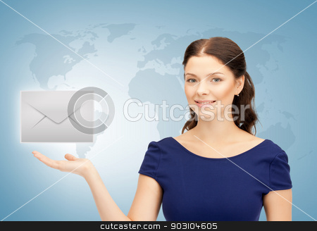woman showing virtual envelope stock photo, woman with world map showing virtual envelope by Syda Productions