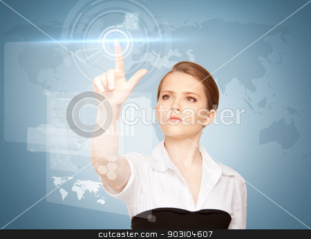 businesswoman touching virtual screen stock photo, picture of attractive businesswoman touching virtual screen by Syda Productions