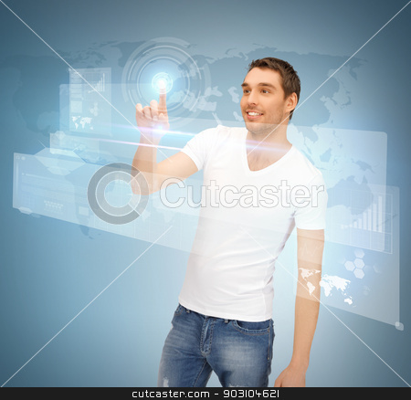 man touching virtual screen stock photo, picture of handsome man touching virtual screen by Syda Productions