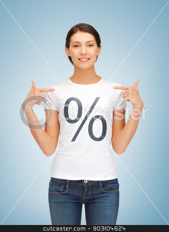 girl pointing at percent sign stock photo, picture of smiling woman pointing at percent sign by Syda Productions
