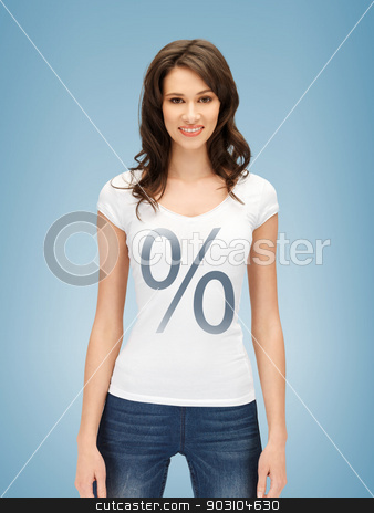 woman in shirt with percent sign stock photo, picture of smiling woman in shirt with percent sign by Syda Productions