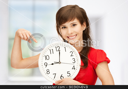 teenage girl holding big clock stock photo, bright picture of teenage girl holding big clock by Syda Productions